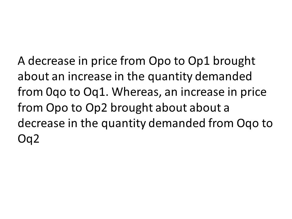 A decrease in price from Opo to Op1 brought about an increase in the quantity demanded from 0qo to Oq1.