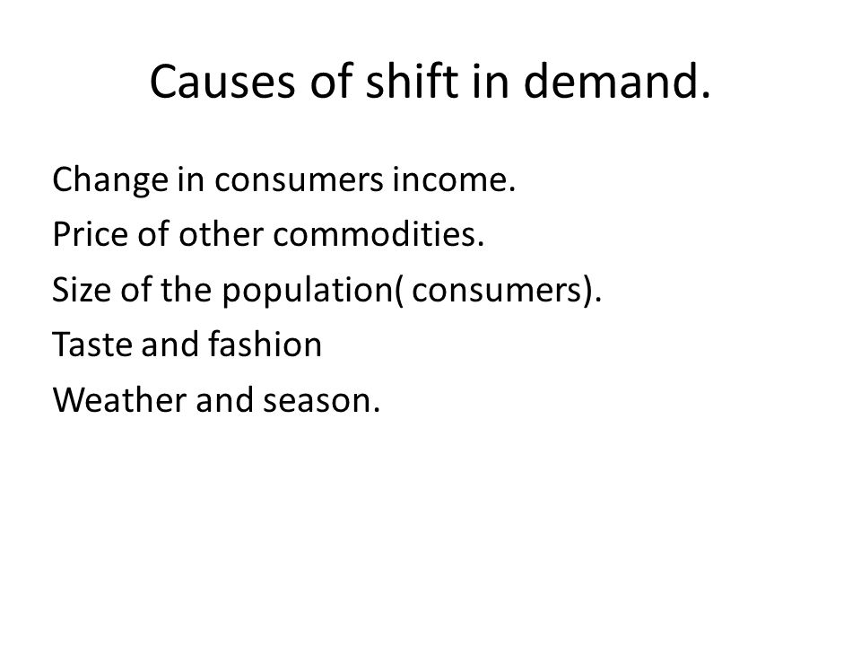 Causes of shift in demand.