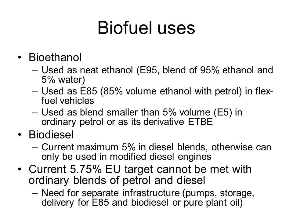 Biofuel uses Bioethanol Biodiesel