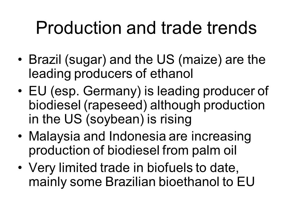 Production and trade trends