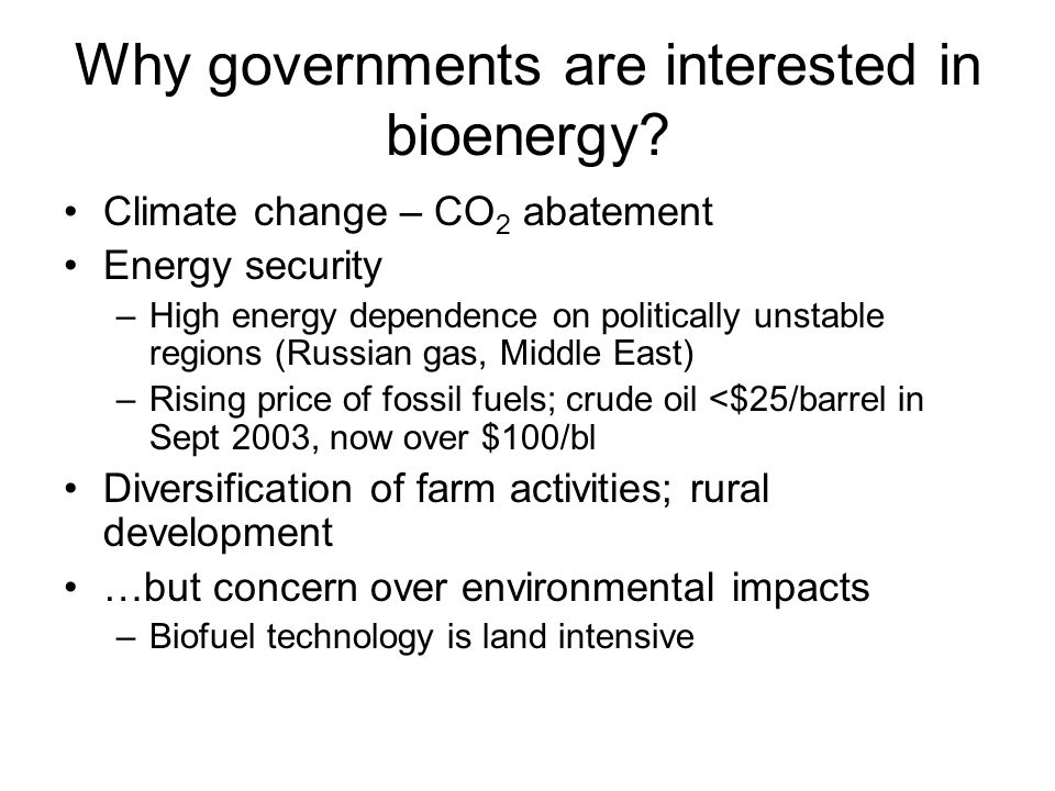 Why governments are interested in bioenergy