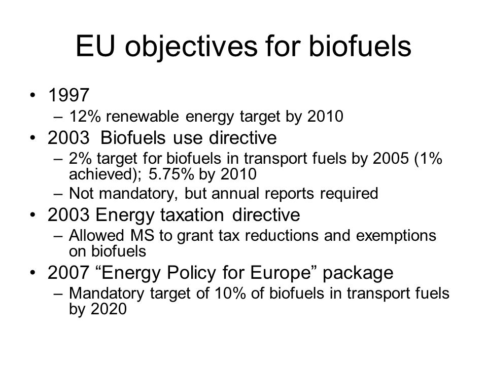 EU objectives for biofuels