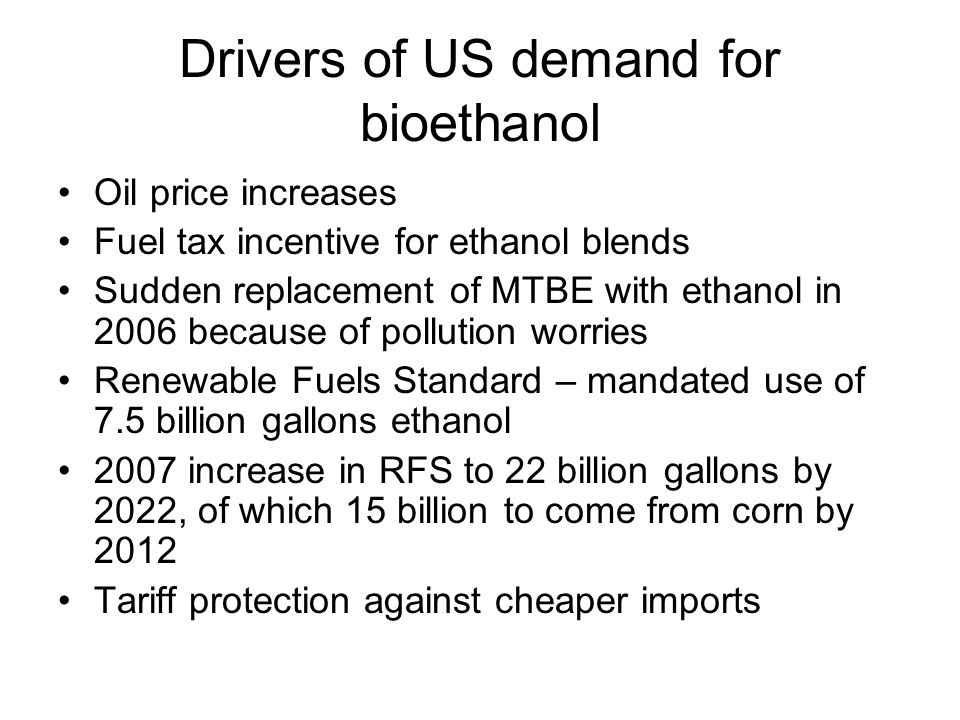 Drivers of US demand for bioethanol