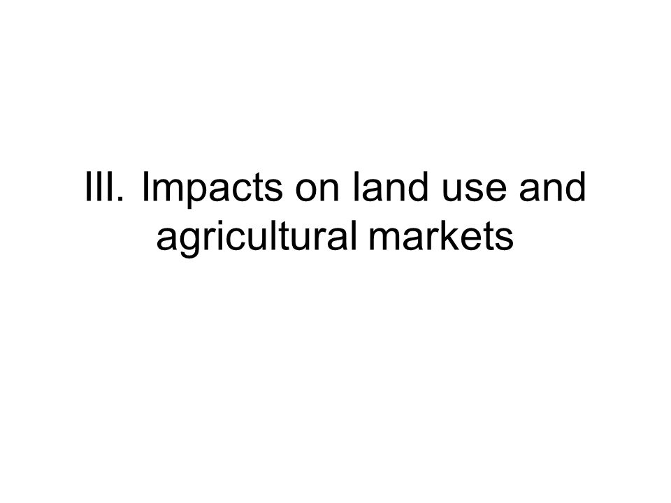 III. Impacts on land use and agricultural markets