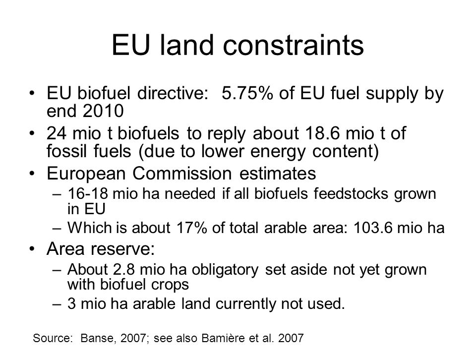 EU land constraints EU biofuel directive: 5.75% of EU fuel supply by end 2010.