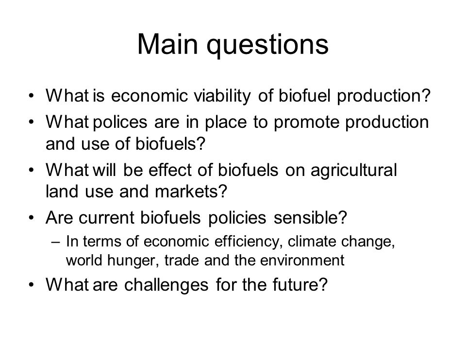 Main questions What is economic viability of biofuel production
