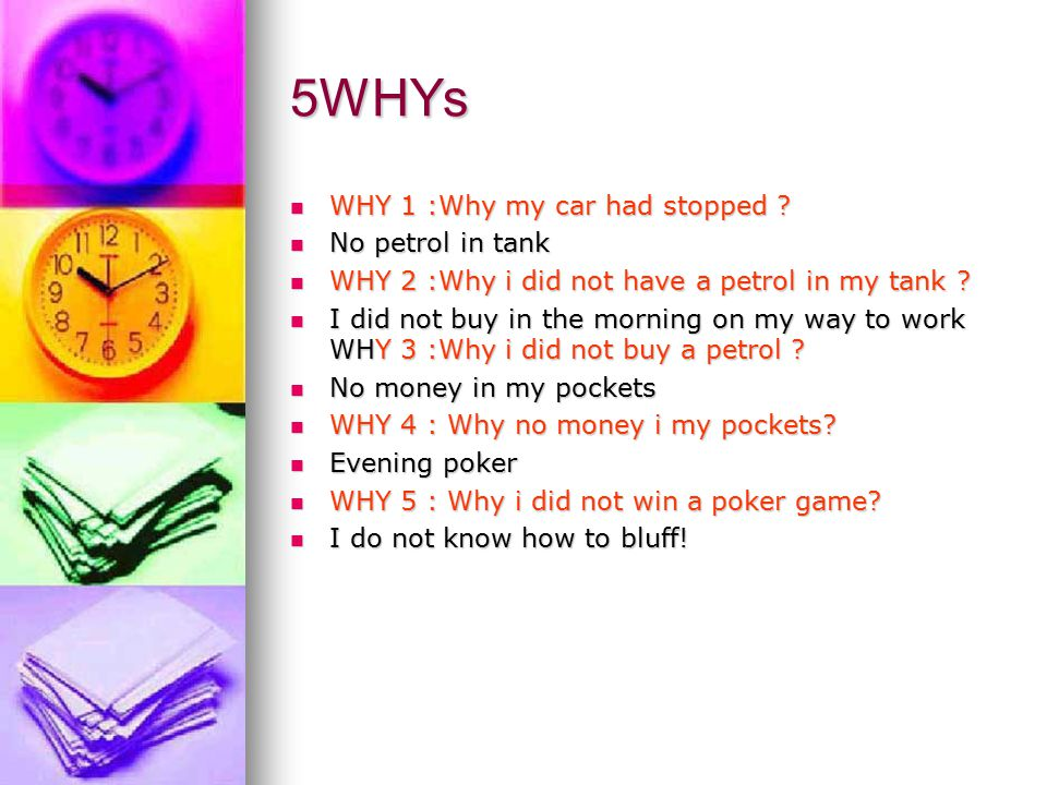 5WHYs WHY 1 :Why my car had stopped No petrol in tank