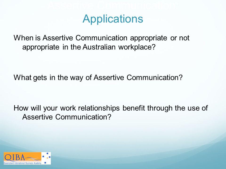 Assertive Communication: Applications