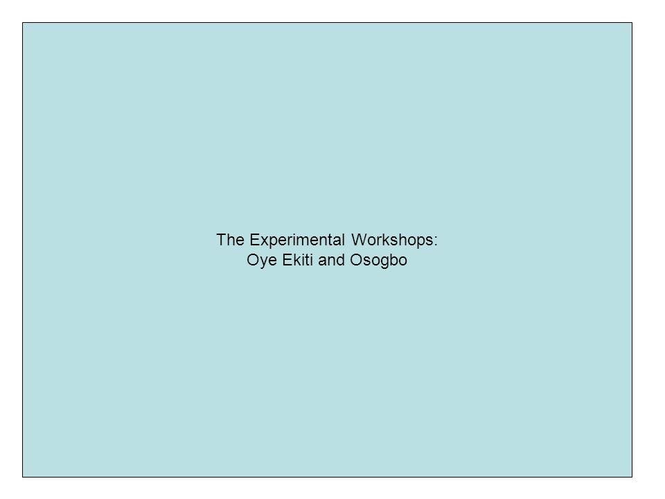 The Experimental Workshops:
