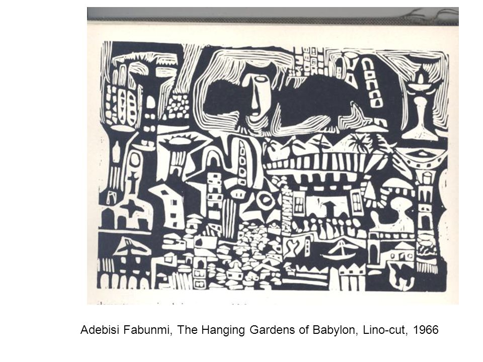 Adebisi Fabunmi, The Hanging Gardens of Babylon, Lino-cut, 1966