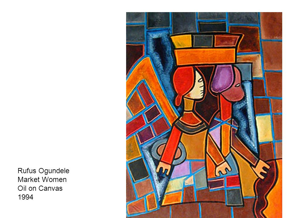 Rufus Ogundele Market Women Oil on Canvas 1994