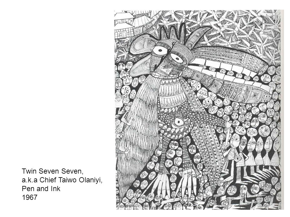 Twin Seven Seven, a.k.a Chief Taiwo Olaniyi, Pen and Ink 1967