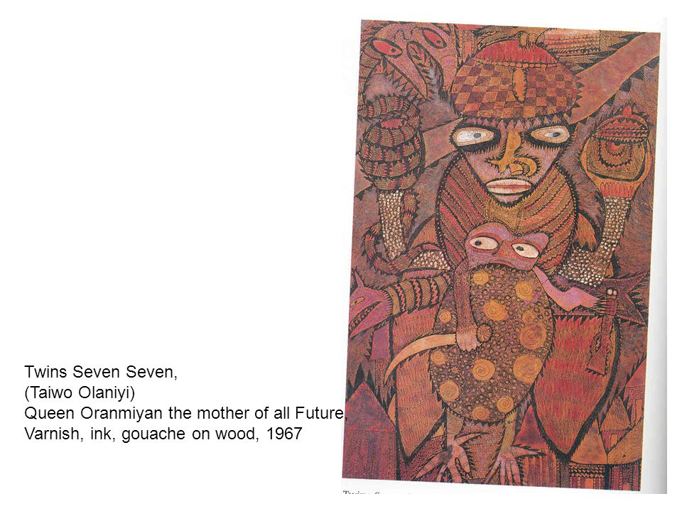 Twins Seven Seven, (Taiwo Olaniyi) Queen Oranmiyan the mother of all Future, Varnish, ink, gouache on wood, 1967.