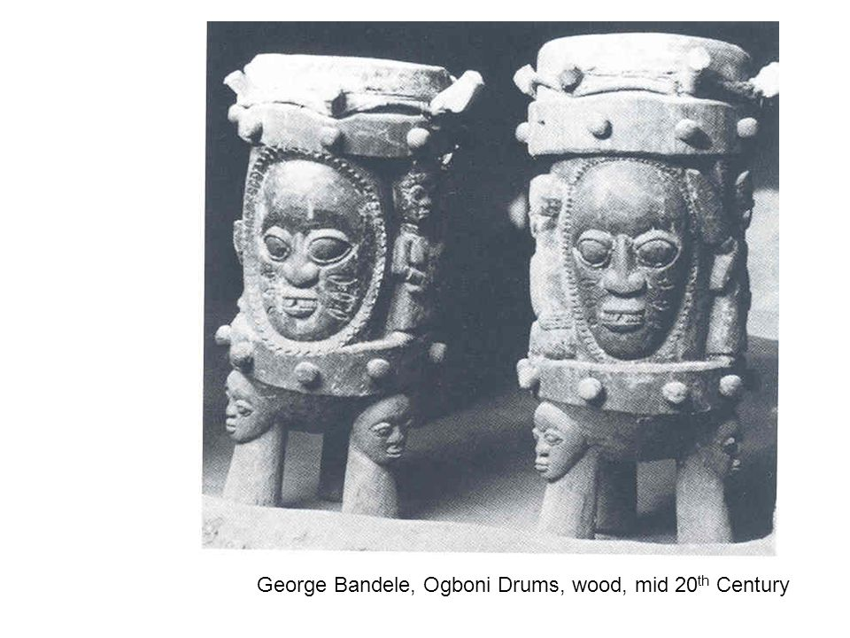 George Bandele, Ogboni Drums, wood, mid 20th Century