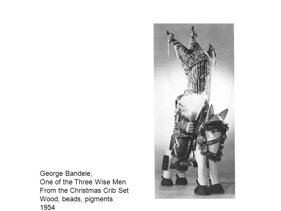George Bandele, One of the Three Wise Men From the Christmas Crib Set Wood, beads, pigments 1954