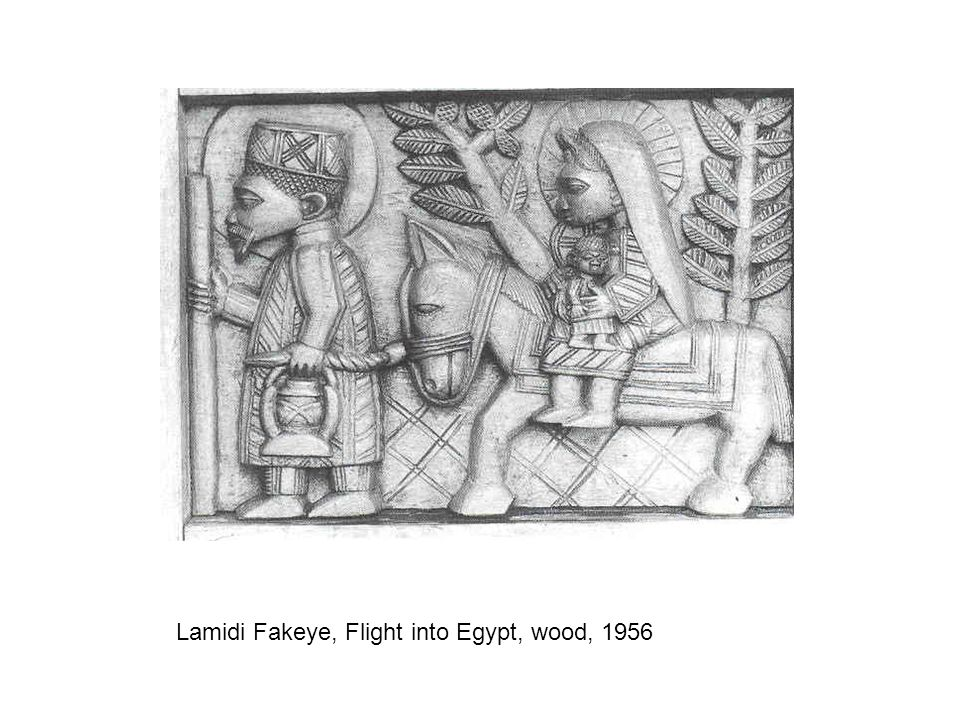 Lamidi Fakeye, Flight into Egypt, wood, 1956