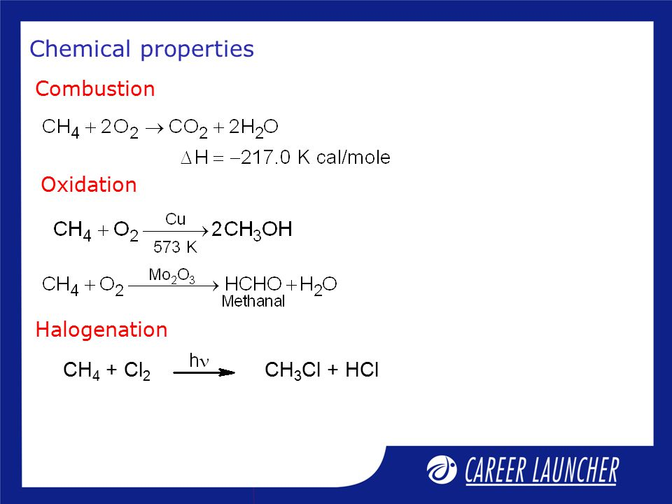 Chemical properties Combustion Oxidation Halogenation