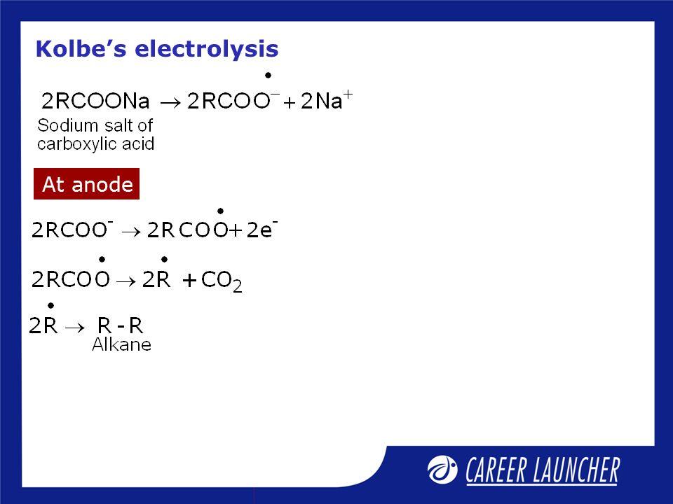 Kolbe's electrolysis At anode