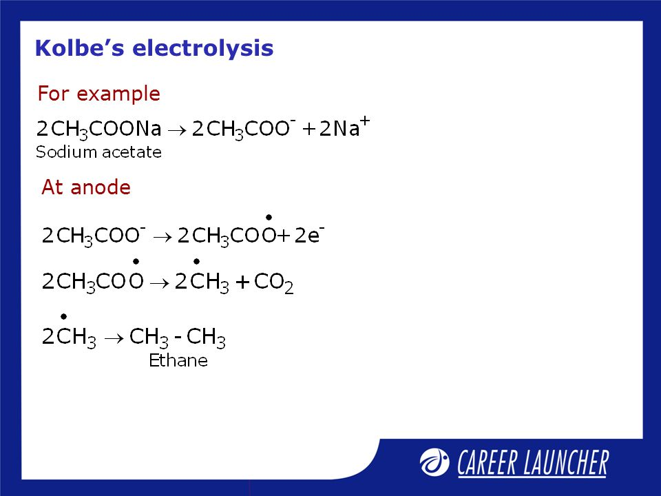 Kolbe's electrolysis For example At anode