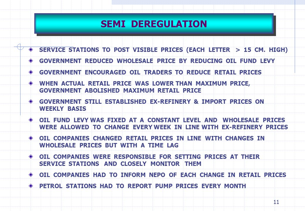 SEMI DEREGULATION SERVICE STATIONS TO POST VISIBLE PRICES (EACH LETTER > 15 CM. HIGH)