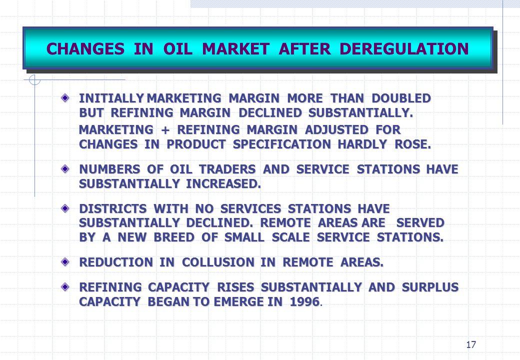 CHANGES IN OIL MARKET AFTER DEREGULATION