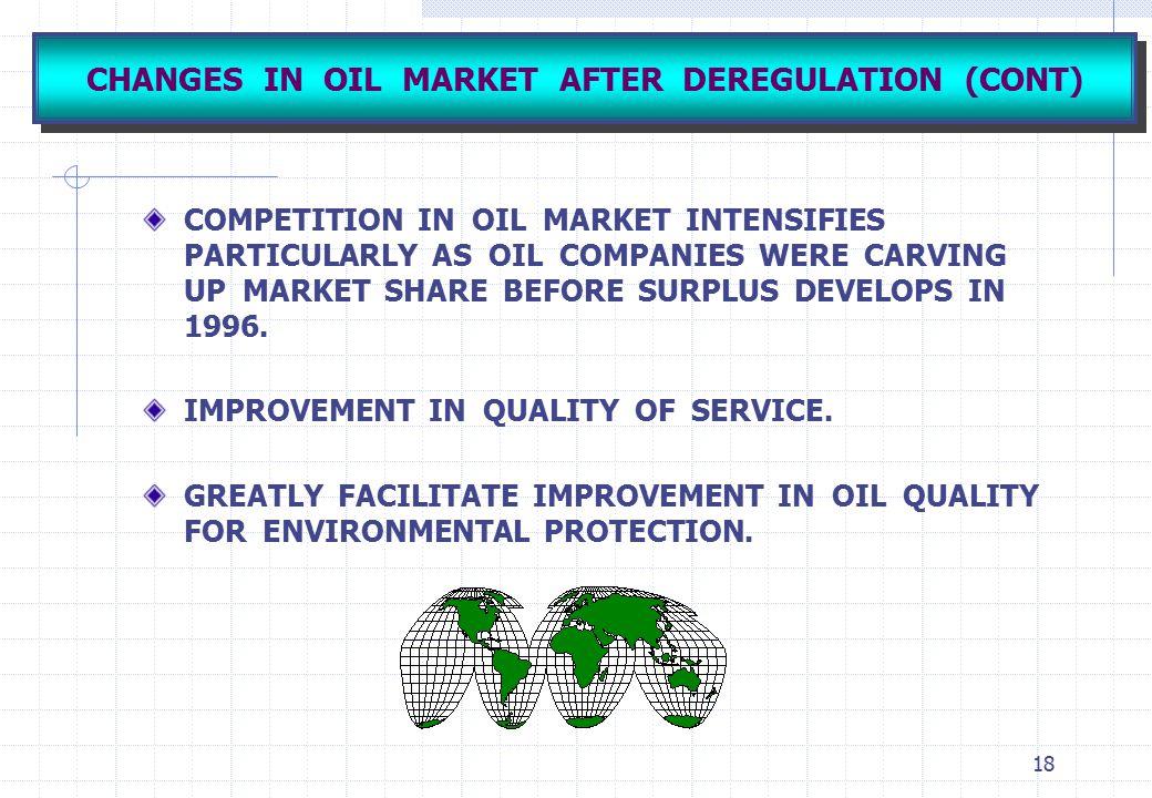 CHANGES IN OIL MARKET AFTER DEREGULATION (CONT)
