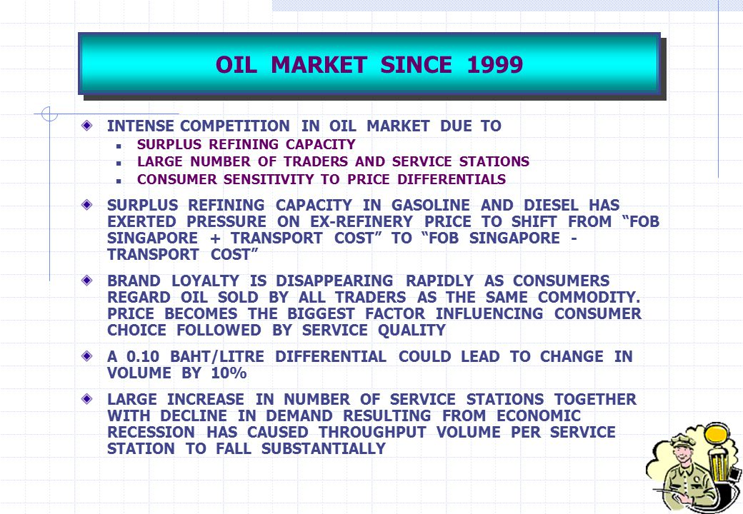 OIL MARKET SINCE 1999 INTENSE COMPETITION IN OIL MARKET DUE TO