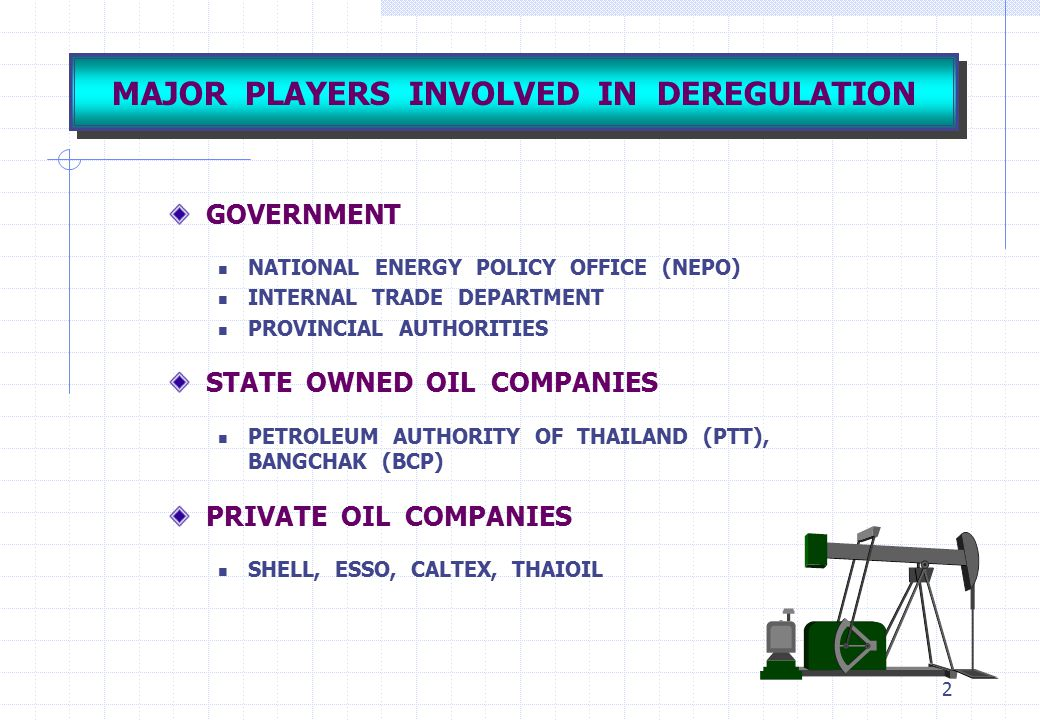 MAJOR PLAYERS INVOLVED IN DEREGULATION