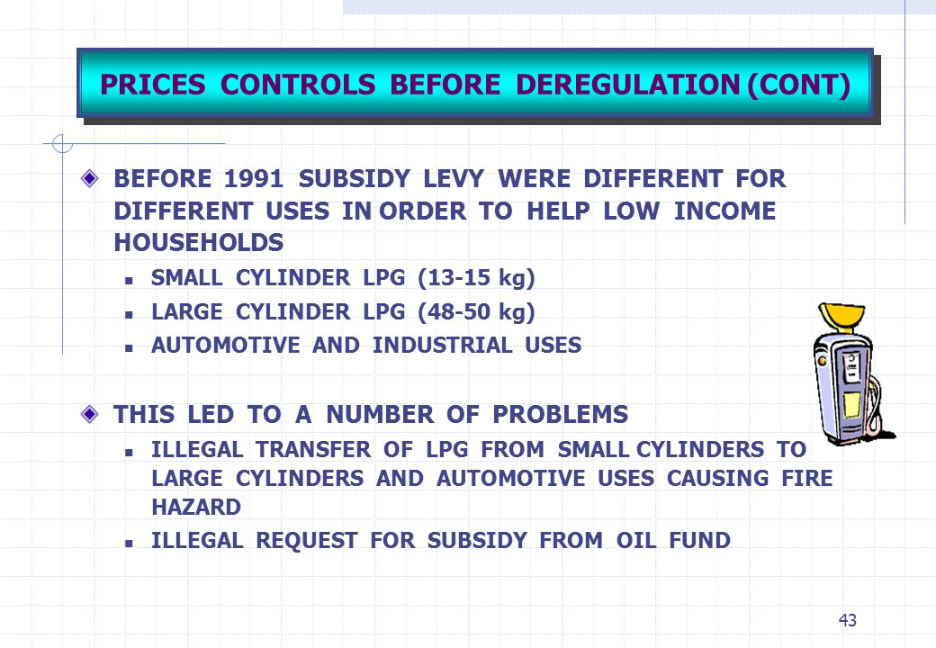 PRICES CONTROLS BEFORE DEREGULATION (CONT)