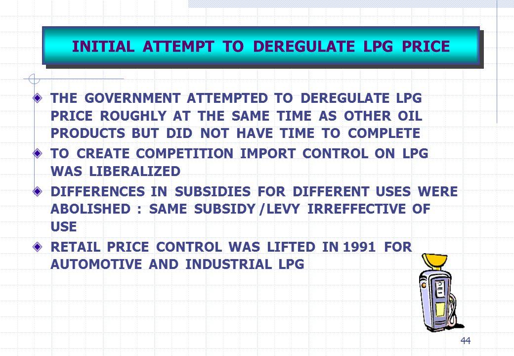 INITIAL ATTEMPT TO DEREGULATE LPG PRICE