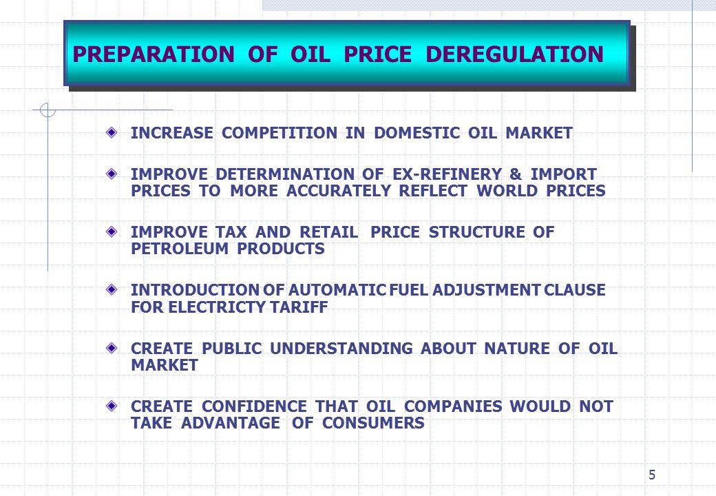 PREPARATION OF OIL PRICE DEREGULATION
