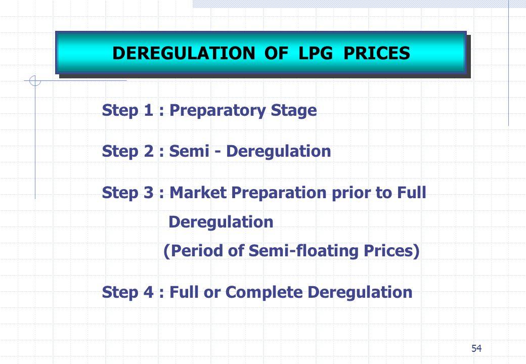 DEREGULATION OF LPG PRICES
