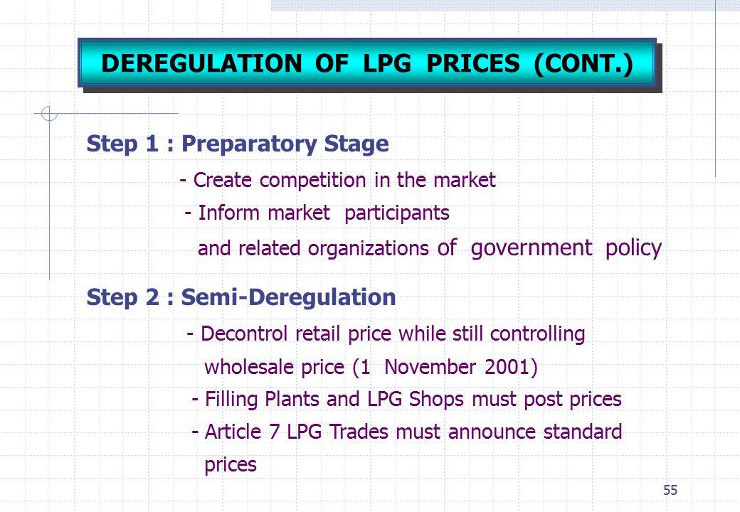 DEREGULATION OF LPG PRICES (CONT.)