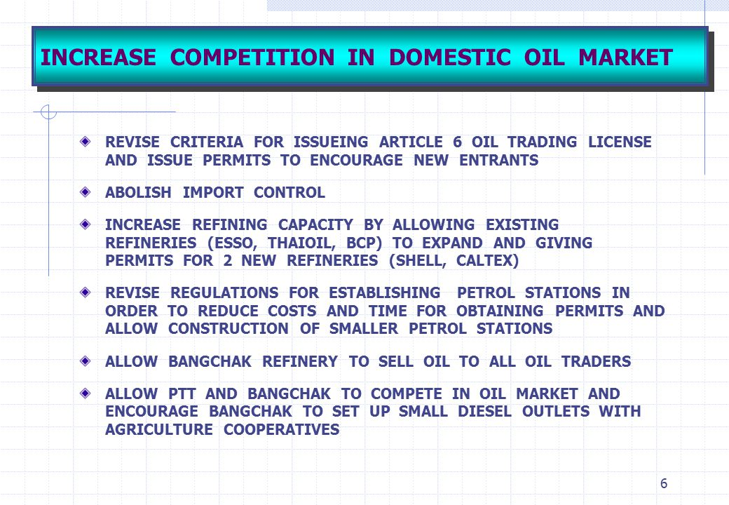 INCREASE COMPETITION IN DOMESTIC OIL MARKET