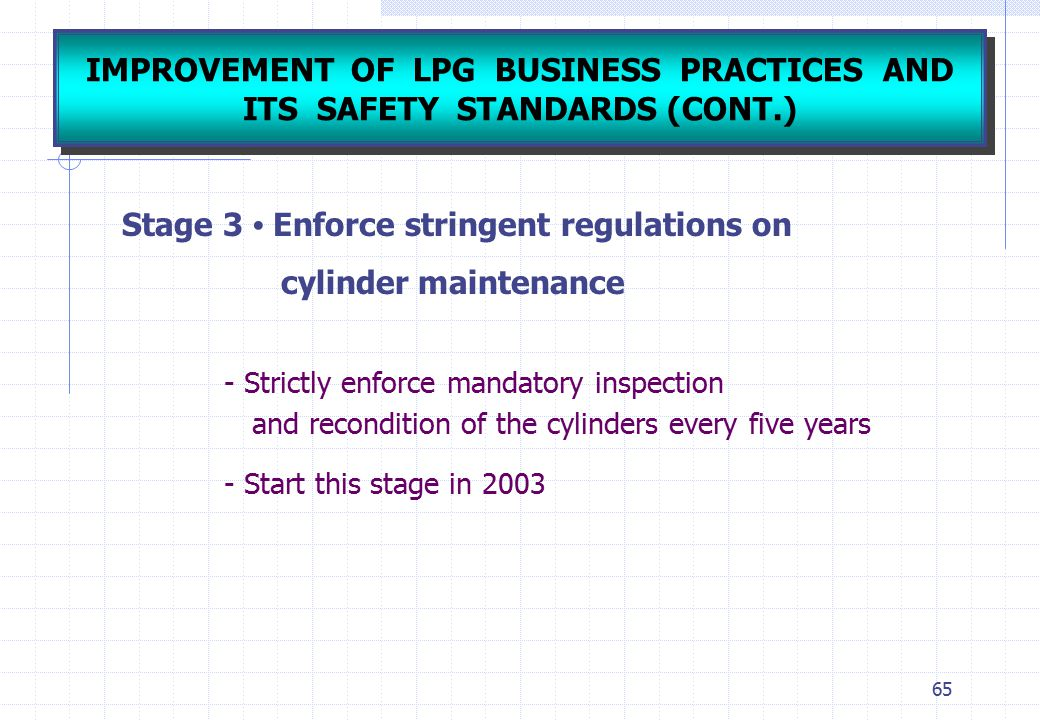 IMPROVEMENT OF LPG BUSINESS PRACTICES AND ITS SAFETY STANDARDS (CONT.)