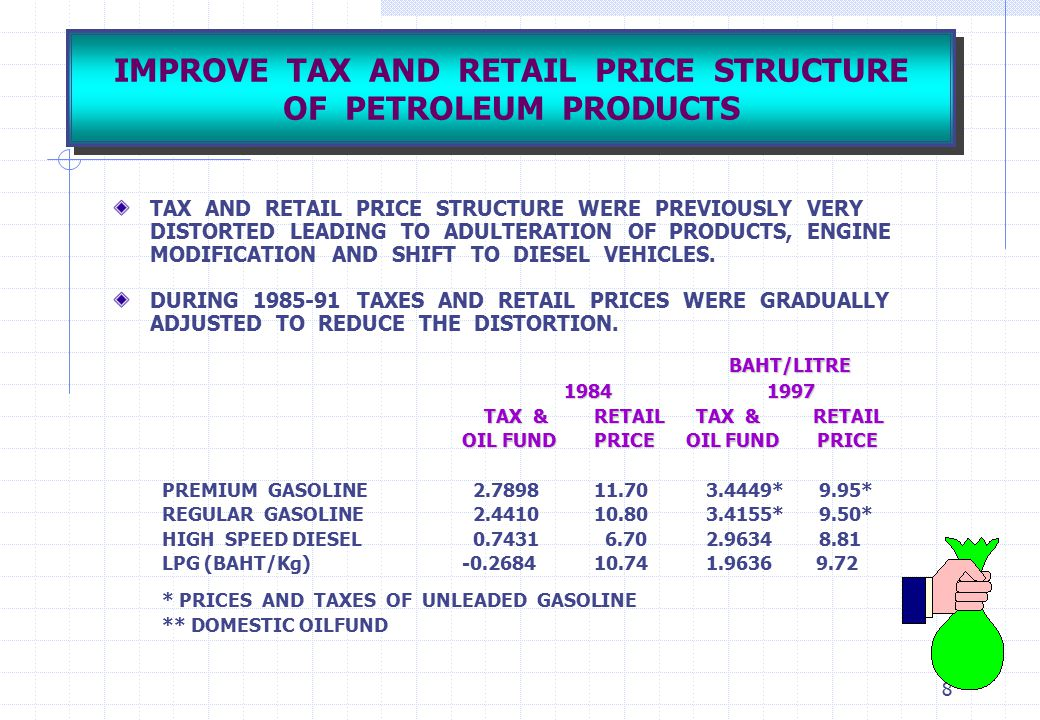 IMPROVE TAX AND RETAIL PRICE STRUCTURE OF PETROLEUM PRODUCTS