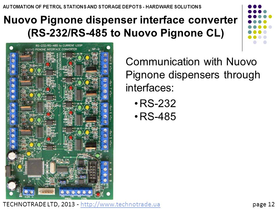 Communication with Nuovo Pignone dispensers through interfaces: