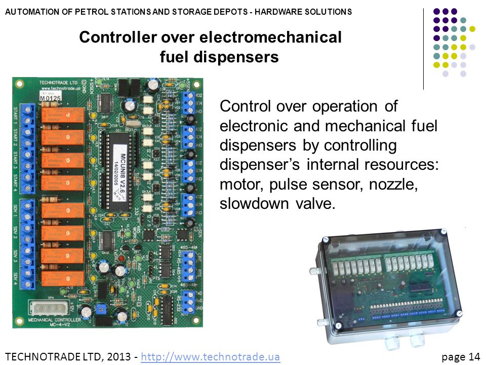 Controller over electromechanical fuel dispensers
