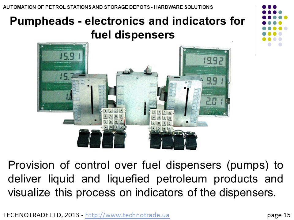 Pumpheads - electronics and indicators for fuel dispensers