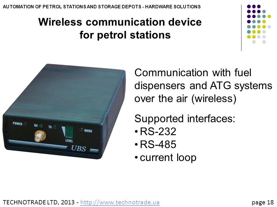 Wireless communication device for petrol stations