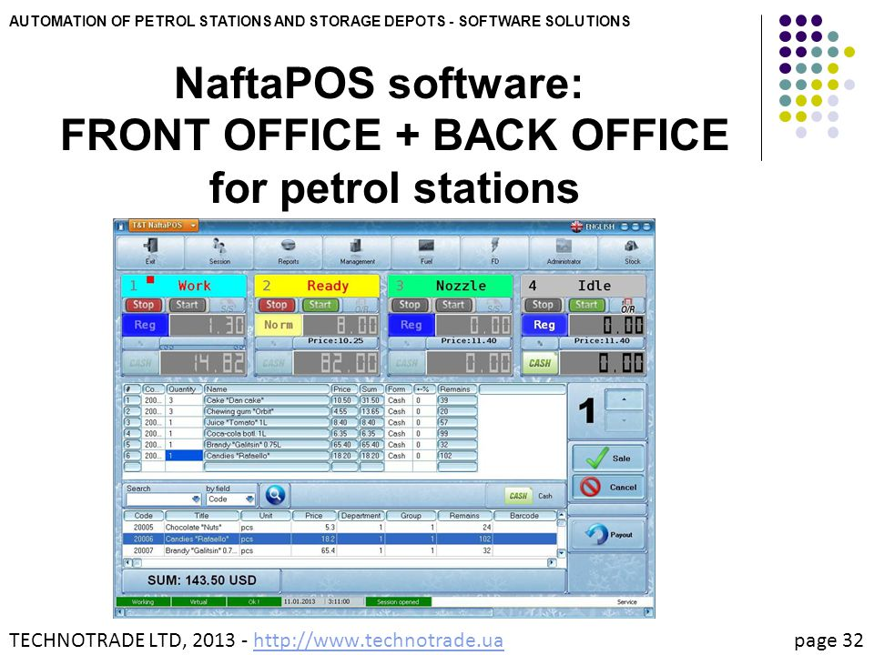 NaftaPOS software: FRONT OFFICE + BACK OFFICE for petrol stations