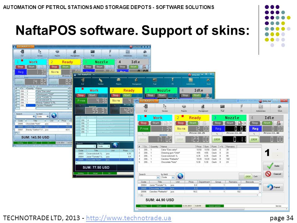 NaftaPOS software. Support of skins: