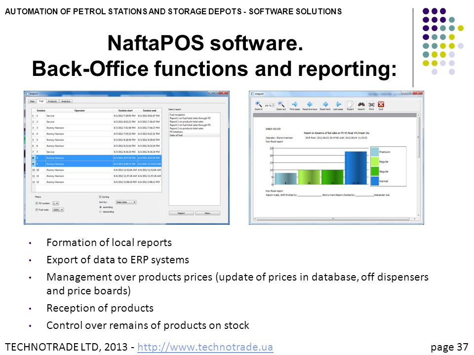 NaftaPOS software. Back-Office functions and reporting:
