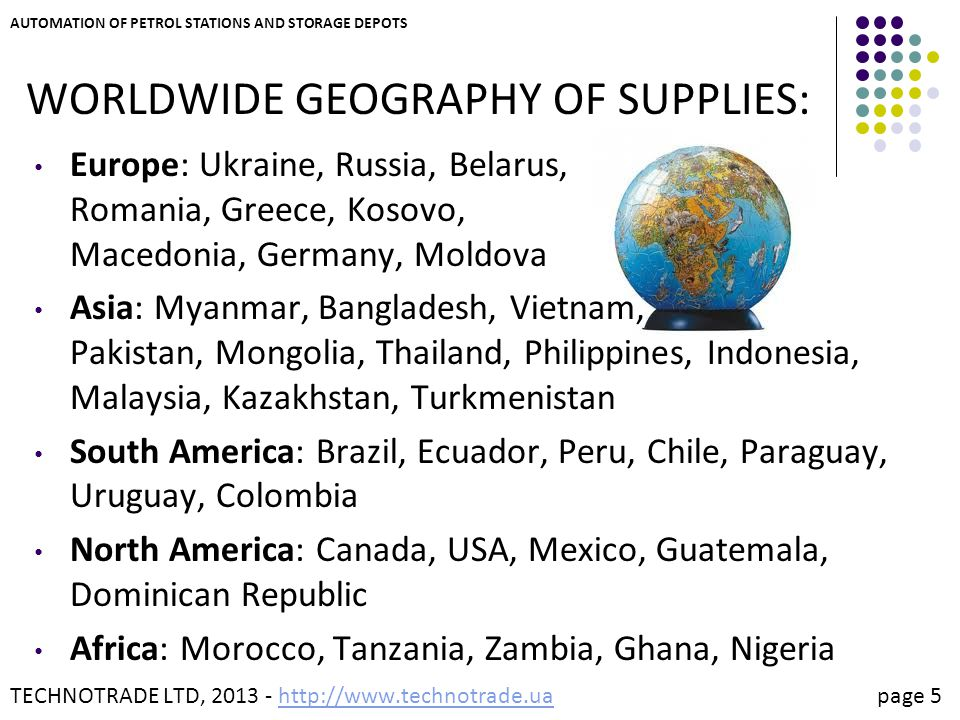 WORLDWIDE GEOGRAPHY OF SUPPLIES: