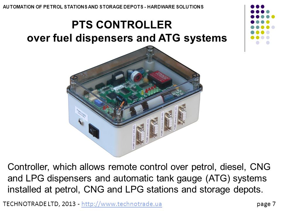 PTS CONTROLLER over fuel dispensers and ATG systems