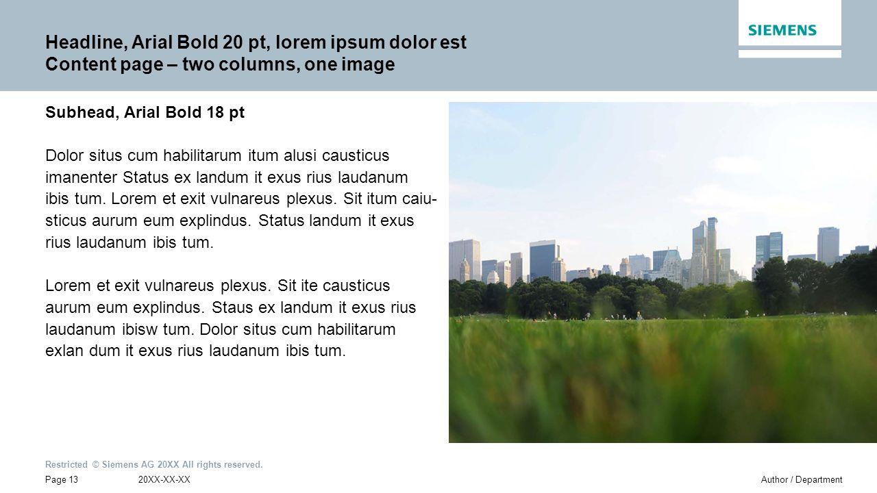 Headline, Arial Bold 20 pt, lorem ipsum dolor est Content page – two columns, one image