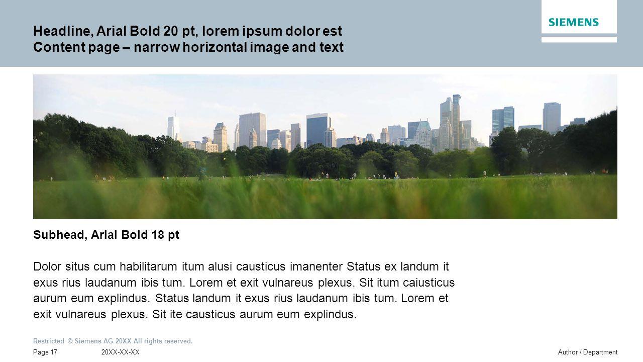 Headline, Arial Bold 20 pt, lorem ipsum dolor est Content page – narrow horizontal image and text