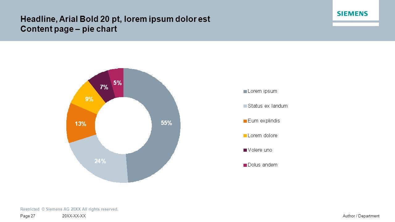 Headline, Arial Bold 20 pt, lorem ipsum dolor est Content page – pie chart