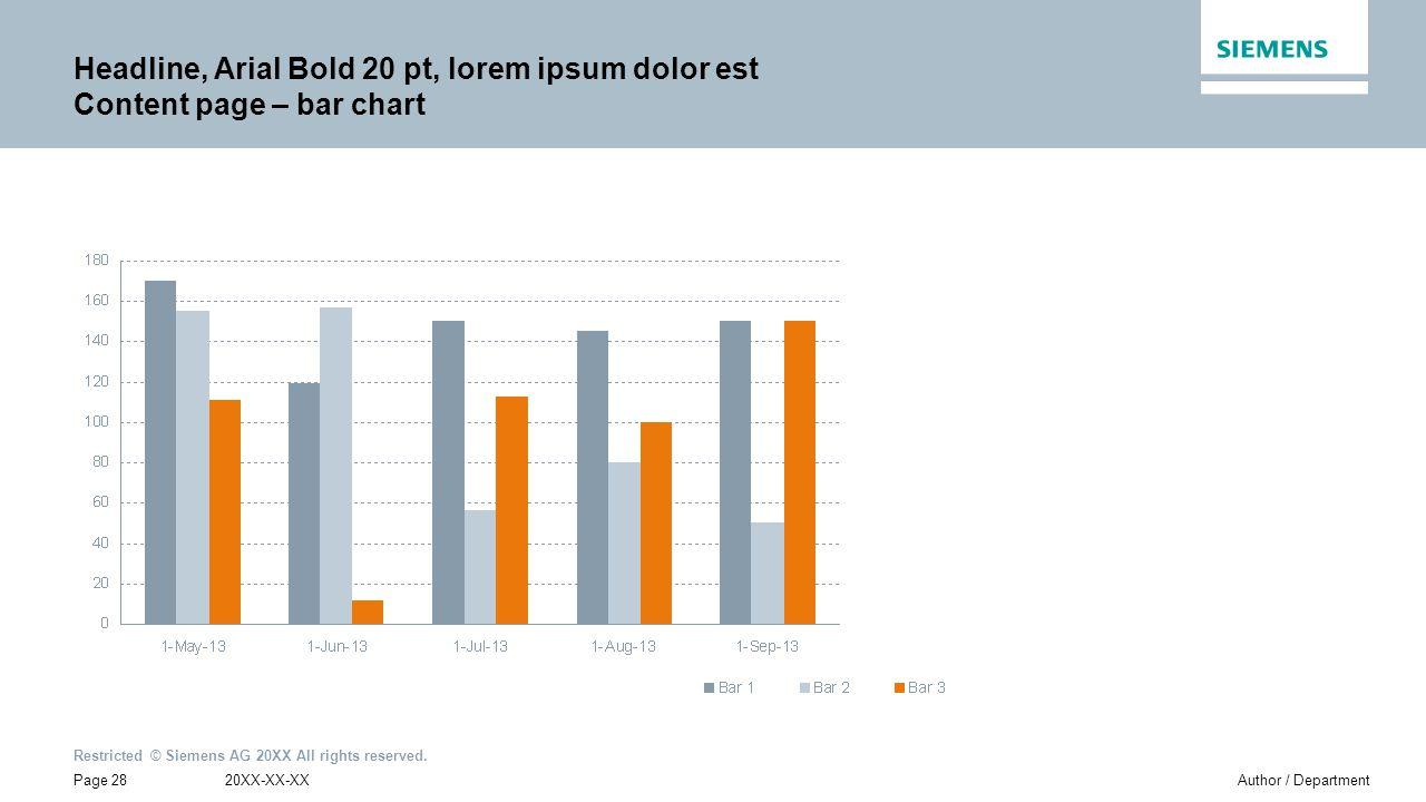 Headline, Arial Bold 20 pt, lorem ipsum dolor est Content page – bar chart