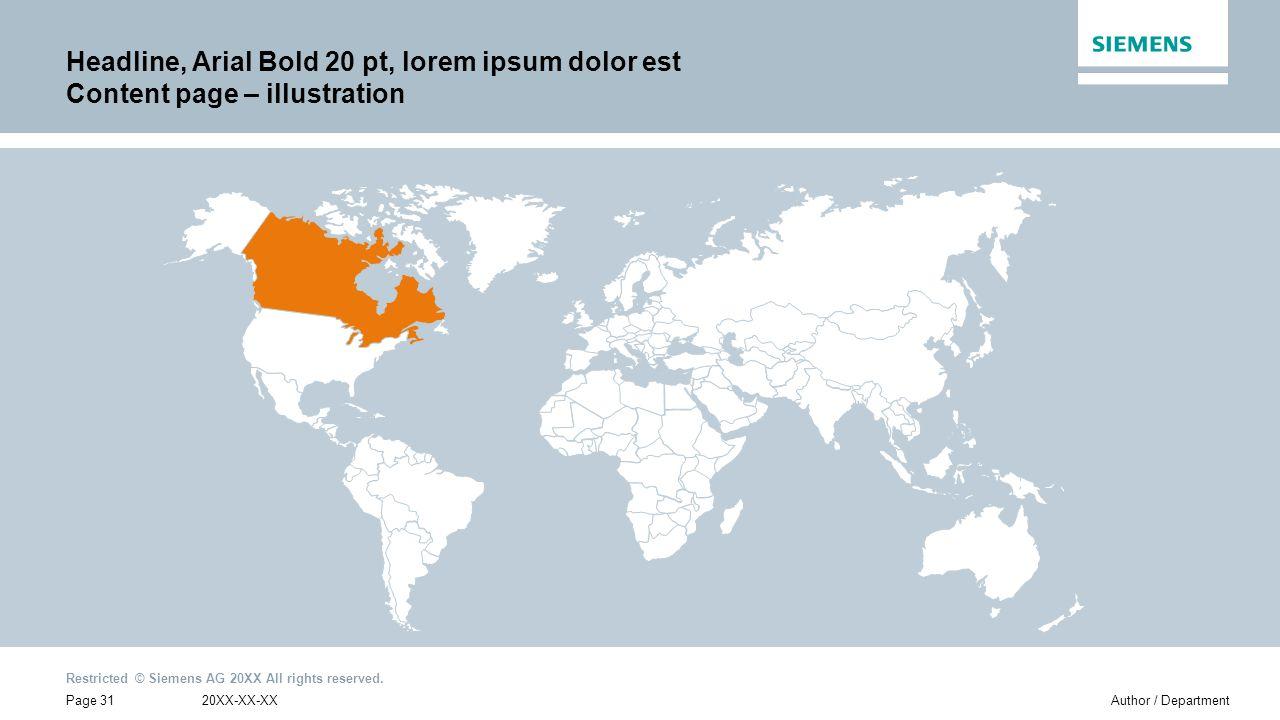 Headline, Arial Bold 20 pt, lorem ipsum dolor est Content page – illustration